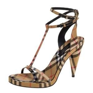Burberry Beige Novacheck Fabric Hans T Strap Sandals Size 40