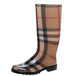 Burberry Brown Nova Check Rubber Rain Boots Size 37