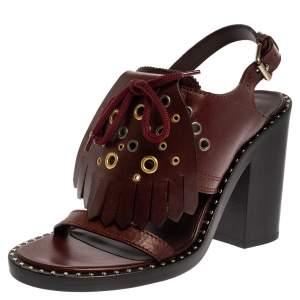 Burberry Burgundy Leather Beverley Eyelet Fringe Detail Slingback Sandals Size 37