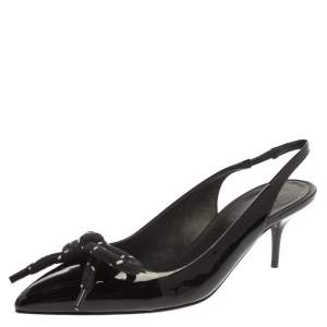 Burberry Black Patent Leather Fink Slingback Sandals Size 40