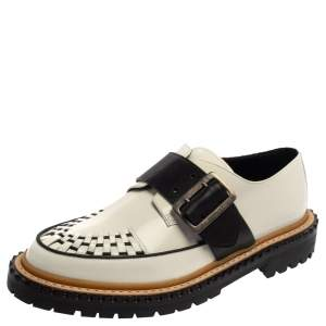 Burberry Monochrome Leather Mason Buckle Strap Platform Creepers Size 41