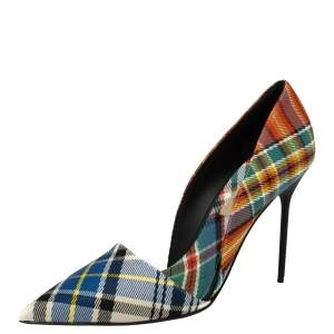 Burberry Multicolor Canvas Virna D'orsay Pointed Toe Pumps Size 39.5