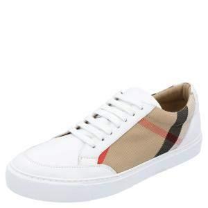 Burberry White Check Canvas Salmond Low Top Sneaker Size EU 39.5