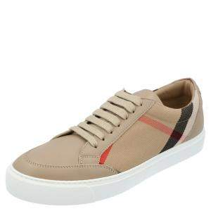 Burberry Brown House Check Canvas Low-Top Sneakers Size EU 39.5