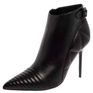 Burberry Black Leather Trench Alexandra Pointed Toe Ankle Booties Size 40