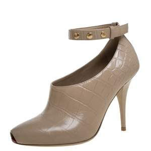Burberry Beige Croc Embossed Leather Jermyn Peep Toe Ankle Cuff Pumps Size 37.5