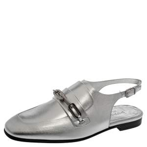 Burberry Silver Leather Cheltown Slingback Flat Sandals Size 36.5