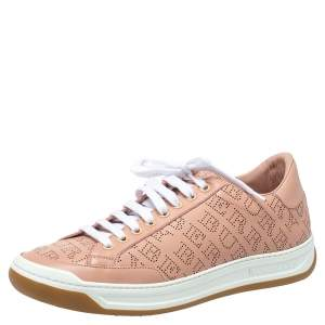 Burberry Pink Perforated Leather Timsbury Low Top Sneakers Size 41
