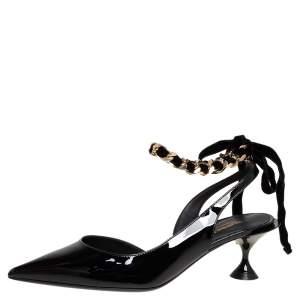 Burberry Black Patent Leather Chain Detail Ankle Wrap Slingback Pumps Size 36.5
