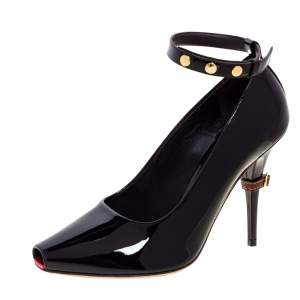 Burberry Dark Brown Patent Leather Jermyn Peep Toe Ankle Cuff Pumps Size 38.5
