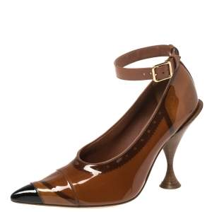 Burberry Brown PVC And Patent Leather 'Evan' Ankle Strap Pointed Toe Pumps Size 37