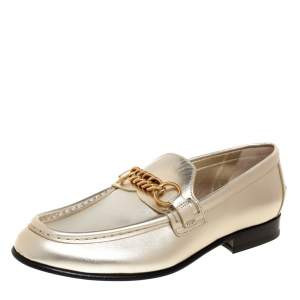 Burberry Metallic Light Gold Leather Solway Chain Detail Slip On Loafers Size 37.5