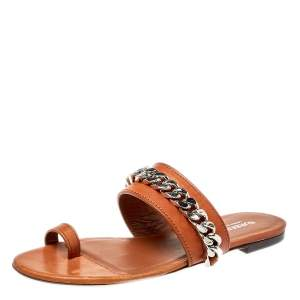 Burberry Brown Leather Heidi Toe Ring Flats Size 37.5
