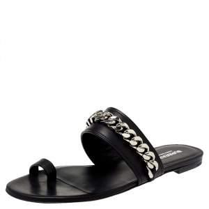 Burberry Black Leather Heidi Toe Ring Flats Size 38.5