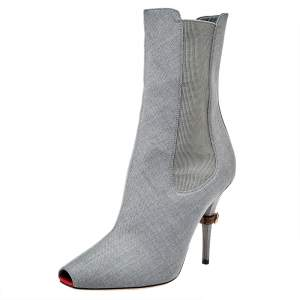Burberry Grey Canvas And Elastic Fabric Peep Toe Kenzie Ankle Boots Size 37.5