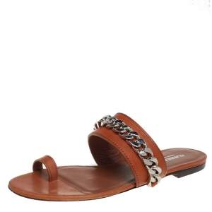 Burberry Brown Leather Heidi Toe Ring Flats Size 37