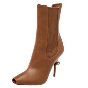 حذاء بوت كاحل بربري كينزي مقدمة مفتوحة قماش مطاط و جلد بني مقاس 37