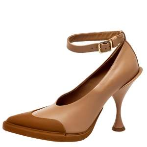 Burberry Brown Leather And Rubber Evan Ankle Strap Pumps Size 39.5