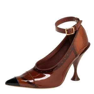 Burberry Brown/Black Patent Leather Brecon Ankle Strap Pumps Size 39