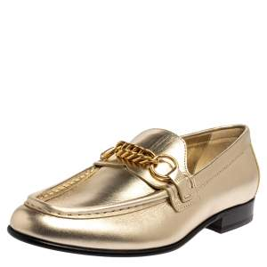 Burberry Light Gold Leather Solway Chain Detail Slip on Loafers Size 38.5