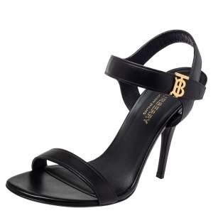 Burberry Black Leather Motif Ankle Strap Sandals Size 38