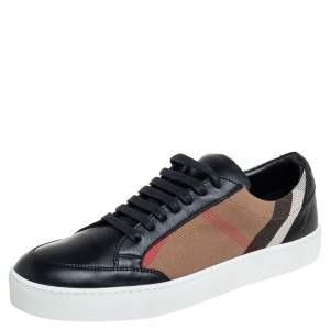 Burberry Black Leather And House Check Canvas Salmond Trainer Low Top Sneakers Size 40.5