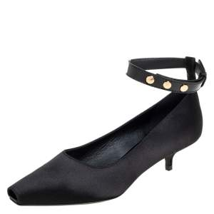 Burberry Black Satin And Patent Leather Kitten Heel Peep Toe Ankle Strap Pumps Size 38