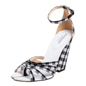 Burberry Black/White Checkered Fabric Hove Heel Ankle Strap Sandals Size 39