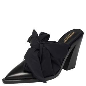 Burberry Black Satin and Leather Tillington Mules Size 39