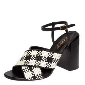 Burberry White/Black Woven Leather Block Heel Sandals Size 37.5