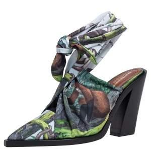 Burberry Multicolor Satin Tillington Ankle Tie Pointed Toe Mules Size 40