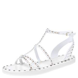 Burberry White Leather Studded Sandals Size 39.5