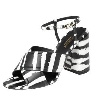 Burberry Black/White Leather Castlebar Ankle Strap Sandals Size 38.5