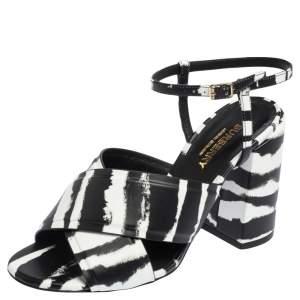 Burberry Black/White Leather Castlebar Ankle Strap Sandals Size 37