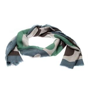 Burberry Prorsum Multicolor Large Camouflage Print Fringed Edge Cashmere Scarf