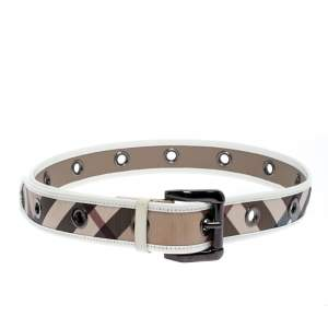 Burberry White Patent Leather and Nova Check Canvas Belt Size 100cm