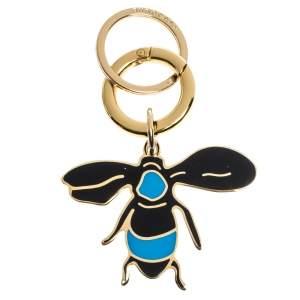 Burberry Enamel Bee Charm Gold Tone Key Ring