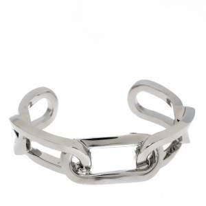 Burberry Chain Link Motif Palladium Plated Open Cuff Bracelet S