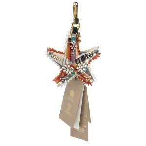 Burberry Crystal Multi Color Wool and Leather Starfish Motif Gold Tone Bag Charm