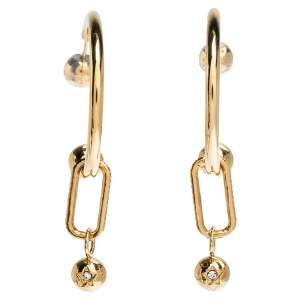 Burberry Crystal Charm Gold Tone Hoop Earrings