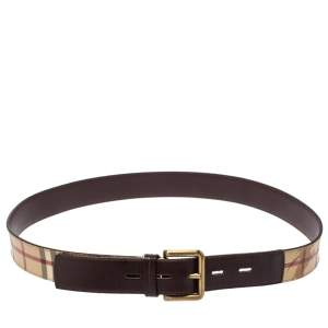 Burberry Beige/Brown Haymarket Check Coated Canvas and Leather Belt 100CM