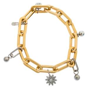 Burberry Gold & Palladium Plated Crystal Encrusted Charms Bracelet