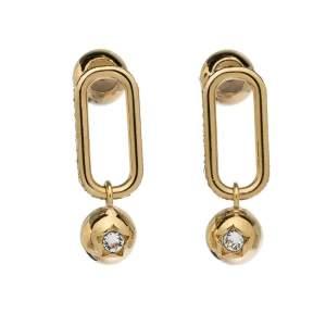 Burberry Crystal Charm Gold Tone Drop Earrings