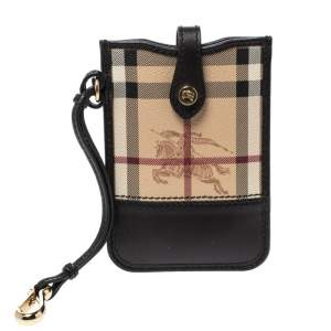 Burberry Black Haymarket Check Coated Canvas and Leather Brit Phone Case