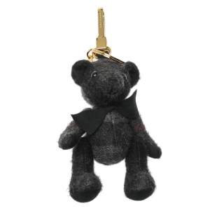 Burberry Charcoal Grey Check Cashmere Thomas Bear Key Charm