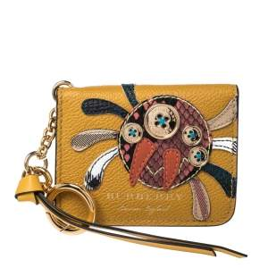 Burberry Mustard Leather Motif Card Case Charm