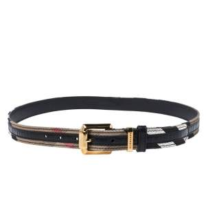 Burberry Beige/Black Super Nova Check Canvas and Leather Trim Belt 90CM
