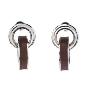 Burberry Leather Palladium Plated Double Grommet Earrings