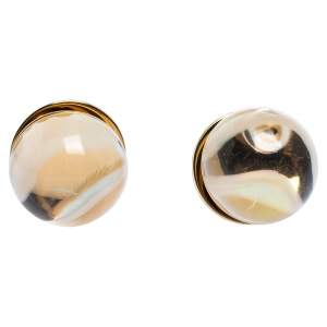 Burberry Marbled Resin Sphere Gold Tone Stud Earrings