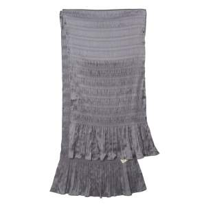 Burberry Grey Stretch Silk Pleat Paneled Scarf